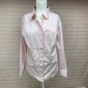 BURBERRY Pink Button Down Women's Shirt XXL